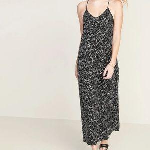 🆕Black Leopard Sleeveless Maxi Shift Dress L Tall